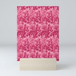 Jacobean Flower Damask, Fuchsia and Light Pink Mini Art Print