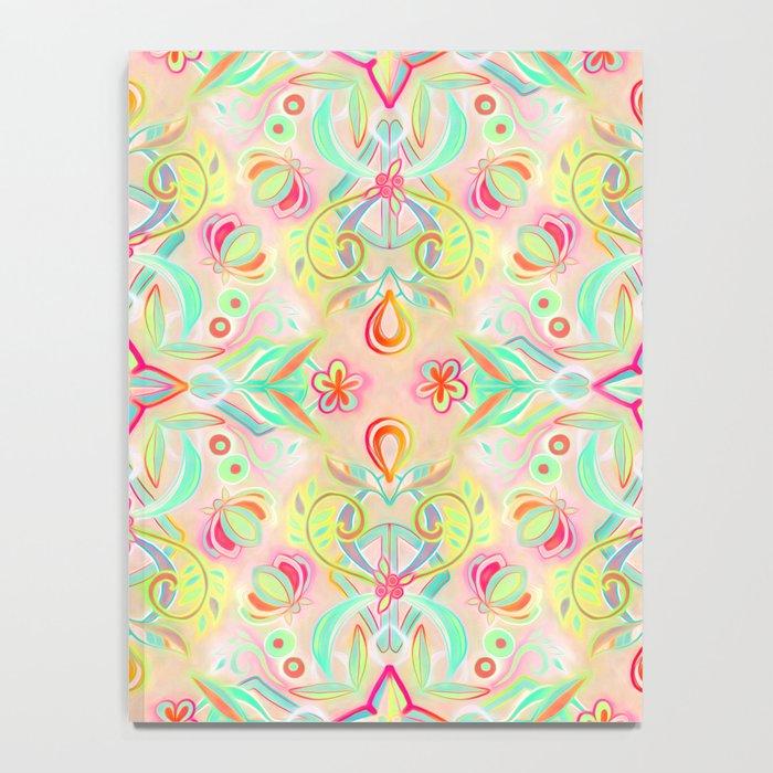 Soft Neon Pastel Boho Pattern Notebook