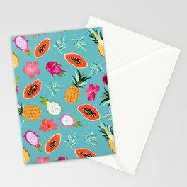 papaya and hibiscus flowers. hawaiian island sweet paradise. Stationery Cards