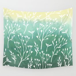 Spring Pattern Green Yellow w White Sprigs Wall Tapestry