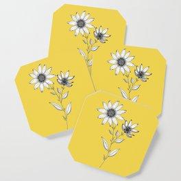 Wildflower line drawing | Botanical Art Coaster