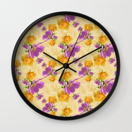 Cosmos and Rose Pattern Wall Clock
