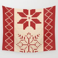 sweater Wall Tapestries featuring Christmas Sweater by Minette Wasserman