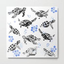 Black turtle print on white Metal Print
