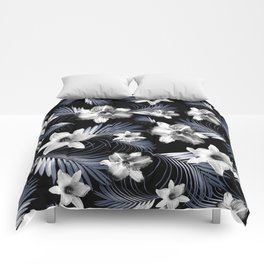 Tropical Flowers Palm Leaves Finesse #4 #tropical #decor #art #society6 Comforters