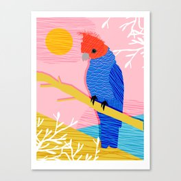 Blazin - memphis throwback tropical bird art parrot cockatoo nature neon 1980s 80s style retro cool Canvas Print