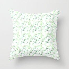 Modern hand drawn neon green watercolor white bamboo pattern Throw Pillow