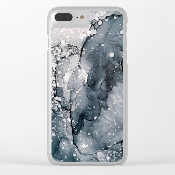 Icy Payne's Grey Abstract Bubble / Snow Painting Clear iPhone Case