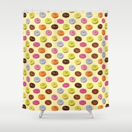Glazed watercolor donuts on yellow Shower Curtain