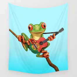 Tree Frog Playing Acoustic Guitar with Flag of Portugal Wall Tapestry