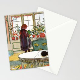 Carl Larsson - Flowers On The Windowsill   Stationery Cards