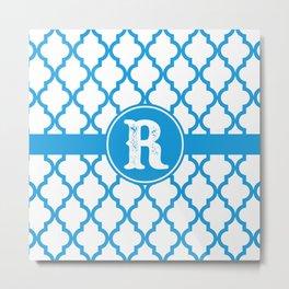 Blue Monogram: Letter R Metal Print