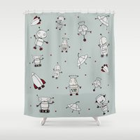 robots Shower Curtains featuring Robots by gladich!