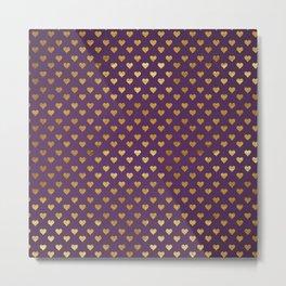 Purple Golden Hearts Metal Print