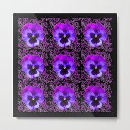 PURPLE PANSY FLOWERS ON BLACK COLOR Metal Print