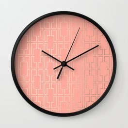 Simply Mid-Century in White Gold Sands on Salmon Pink Wall Clock