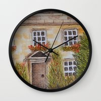 college Wall Clocks featuring Christ College by Natillustratecreate