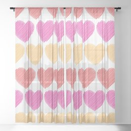 Colorful Hearts Sheer Curtain