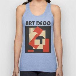 Geometrical abstract art deco mash-up scarlet beige Unisex Tank Top