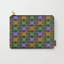 K115 Purple, Gold and Green Stamp Pattern Design Carry-All Pouch