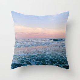 A Sea Foam Sunset Throw Pillow