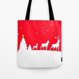 deer family in winter landscape Tote Bag