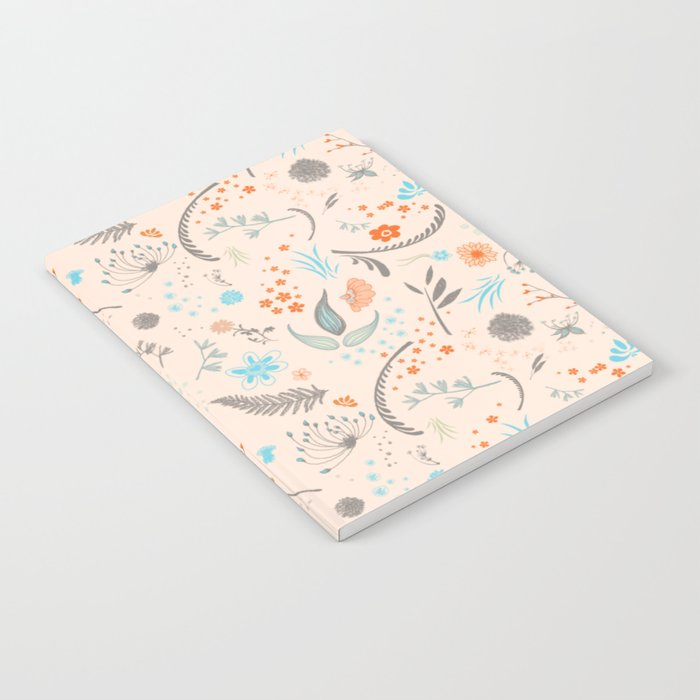Floral Pattern with Flowers and Leaves Notebook