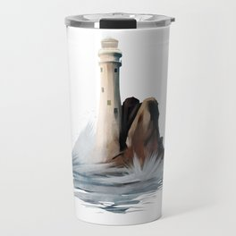 Lighthouse Light House Ocean Rocks and Waves Travel Mug