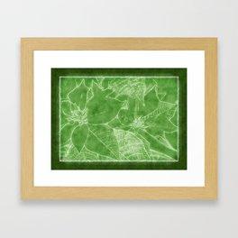 Poinsettias Outlined Green Framed Art Print