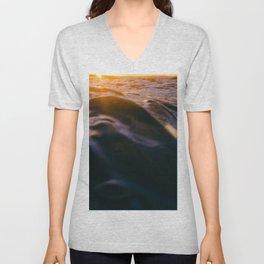 Sunset over water Unisex V-Neck