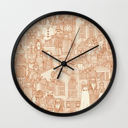 vintage halloween rust ivory Wall Clock