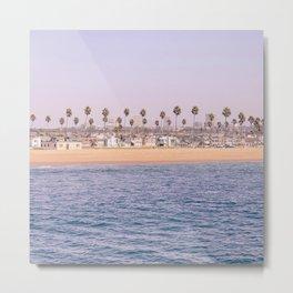 Vintage Newport Beach Print {2 of 4} | Photography Ocean Palm Trees Magenta Tropical Summer Sky Metal Print