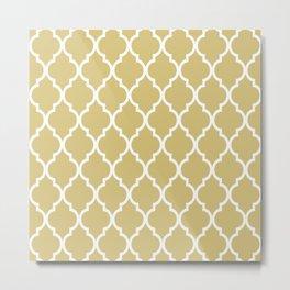 Classic Quatrefoil Lattice Pattern 221 Gold Metal Print