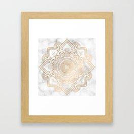 Marble Gold Mandala Design Framed Art Print