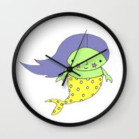 the little mermaid Wall Clocks featuring little mermaid by Soju Shots