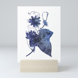 Watercolor Indigo Passion Flower Mini Art Print