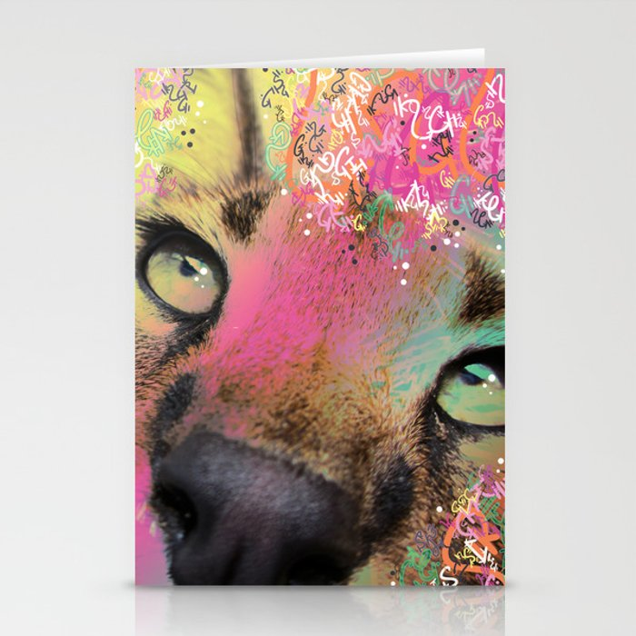 Little Caracal Cat Face Stationery Cards
