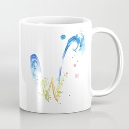 Letter W watercolor - Watercolor Monogram - Watercolor typography - Floral lettering Coffee Mug