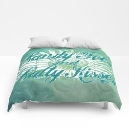 Sandy Toes and Salty Kisses with Nautilus Shell Graphic Design Comforters