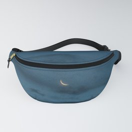 Morning Moonrise: Crescent in the Clouds Fanny Pack