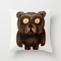 teddy bear Throw Pillows featuring Teddy Bear by Riccardo Pertici
