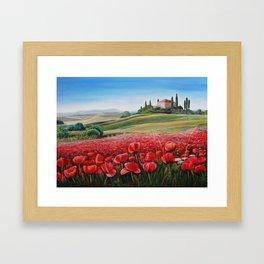 Italian Poppy Field Framed Art Print