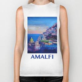 Retro Vintage Style Travel Poster Amazing Amalfi Coast At Sunset Biker Tank