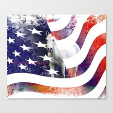 White Horse And American Flag By Annie Zeno Canvas Print