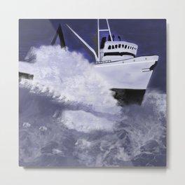ship in storm Metal Print