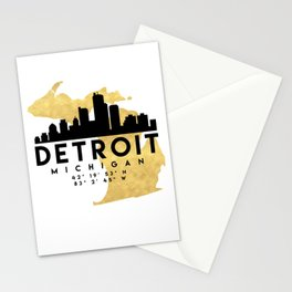 DETROIT MICHIGAN SILHOUETTE SKYLINE MAP ART Stationery Cards