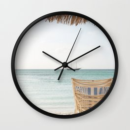 Summer Holiday Beach Photo   Aruba Island Ocean View Art Print   Caribbean Nature Travel Photography Wall Clock