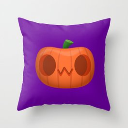 OwO cat emoji funny pumpkin for Halloween Throw Pillow