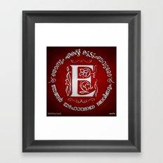Joshua 24:15 - (Silver on Red) Monogram E Framed Art Print