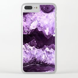 Amethyst Crystal Cave Clear iPhone Case